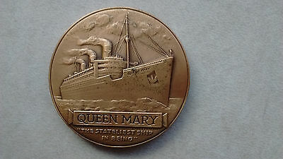 RMS Queen Mary Bronze Medal w Box Medallic Art Co