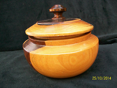 Vintage Turned Wooden Bowl with Lid.