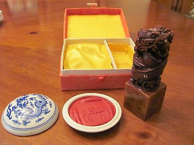 VINTAGE McCORMACK ORIENTAL DRAGON WAX DISH & CARVED DRAGONS SOAPSTONE SEAL STAMP
