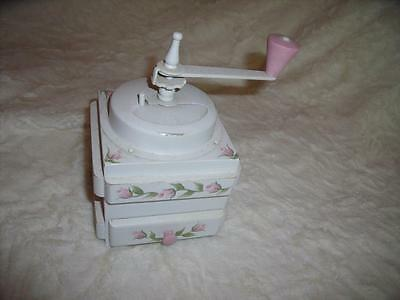 VINTAGE Handpainted Wooden COFFEE GRINDER Pink Roses Shabby Cottage Decor SWEET