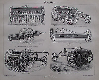 1889 SÄEMASCHINEN alter Druck Antique Print Lithographie