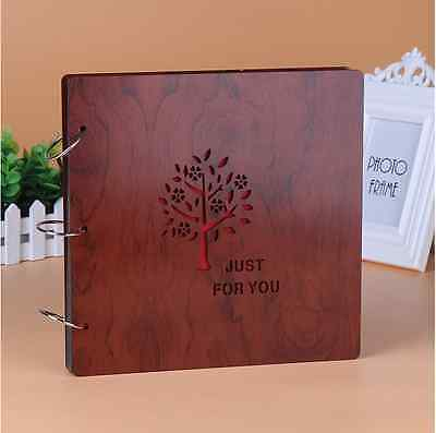 DIY 30Pg 26.9x26.4cm Wood Cover 3Rings Photo Album Wedding Scrapbook Just For U