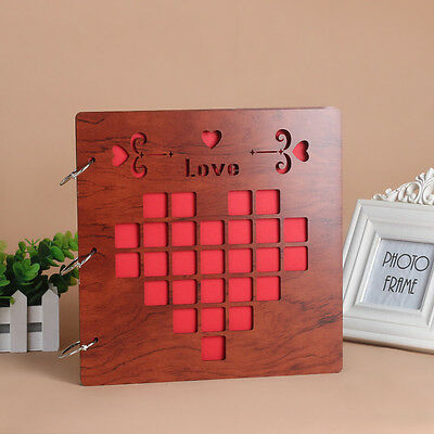 DIY 30Pages 26.9x26.4cm Wood Cover 3Rings Photo Album Wedding Scrapbook LOVE