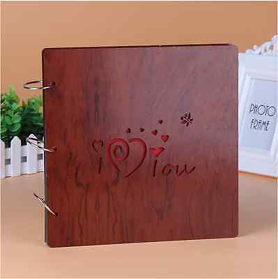 DIY 30Pg 26.9 x 26.4cm Wood Cover 3Rings Photo Album Wedding Scrapbook I LOVE U