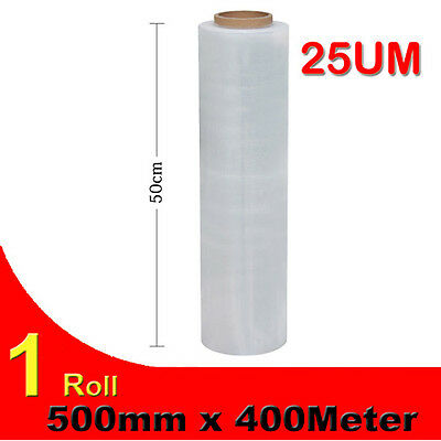 1 Roll 500mm x 400m 25U Clear Stretch Film Pallet Wrap For Packaging Shipping