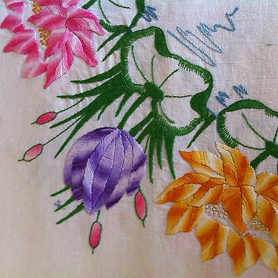 Vintage colourful HAND embroidered flower tablecloth 136 x 160cm