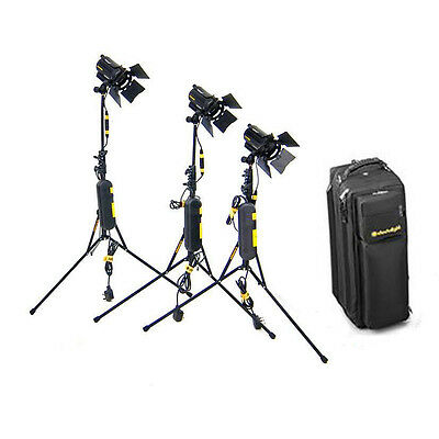 Dedolight DLH4 aspheric 2 lighting 3 Head kit + stands Inline Dimmers Case Excll