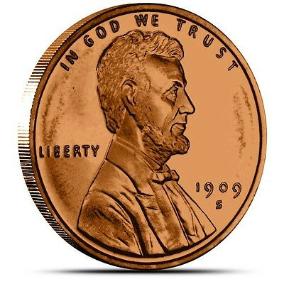 1 oz Copper Round - 1909 S VDB Lincoln Wheat Cent