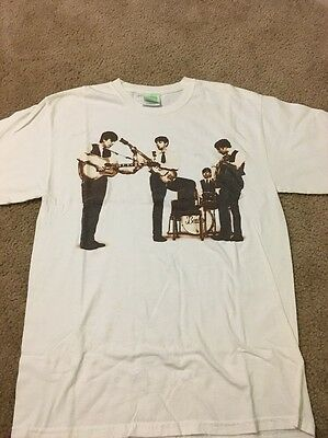 The BEATLES Graphic Sepia Brown Tone Band White T-Shirt Sz Medium GREAT COND