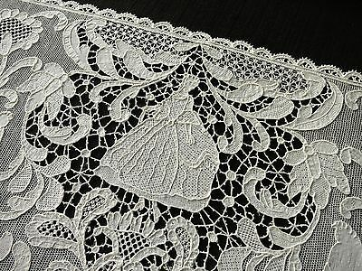 FIGURAL Antique c1900 BURANO LACE Italy 8 Placemats PEOPLE ANIMALS BIRDS FLOWERS