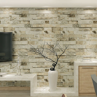 10M 4 colors Slate Stone&Brick Patterned 3D Effect Vinyl Wallpaper Roll Decor