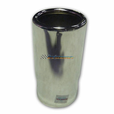 """Chrome Exhaust Tip 2.25"""" Inlet 2.5"""" Outlet Rolled End Straight Cut"""