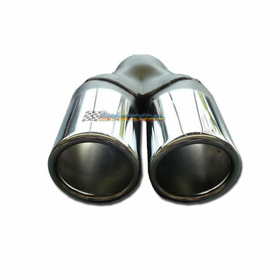"""3.5"""" Twin Outlet Rolled End Straight Cut Chrome Exhaust Tip"""