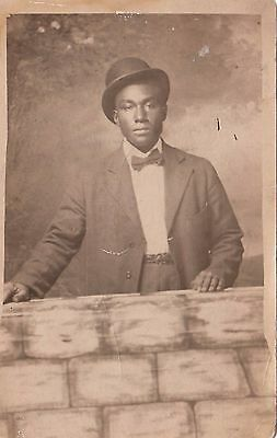 AWESOME Vintage PHOTO/ Black African American/Young Handsome Man Postcard RPPC