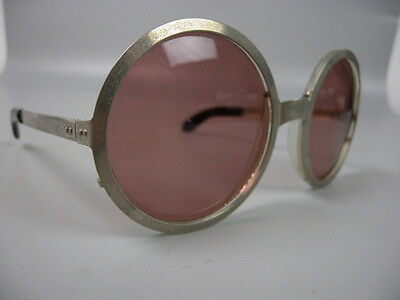 Vintage Retro Sunglasses Shades Pink Round Lenses French