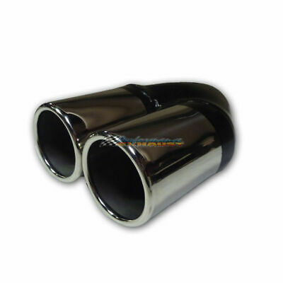 """2.5"""" Inlet / Twin 3"""" Outlet Rolled End Straight Redback Stainless Exhaust Tip"""
