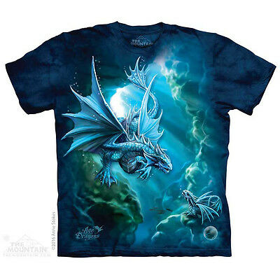 Sea Dragon T-Shirt by The Mountain. Fantasy Ocean Blue Dragons Sizes S-5X NEW