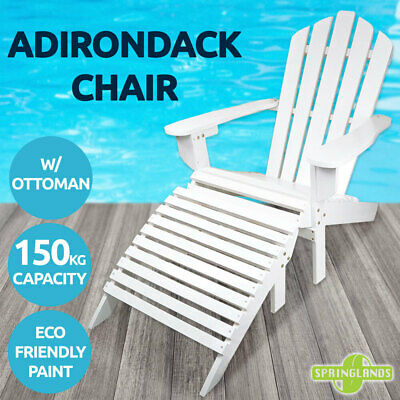 Adirondack Chair w/ Ottoman Outdoor Furniture Garden Beach Deck Folding White