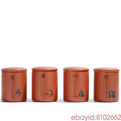 4 PCS purple clay bottles mini storage tea caddy ceramic jars and lids container
