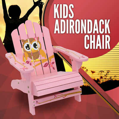 Kids Adirondack Chair Girl Outdoor Furniture Garden Beach Deck Pink Owl Bird