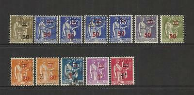 """France ~ 1940 Surcharge Overprint  On """"peace"""" Stamps ~ Part Set Postally Used."""