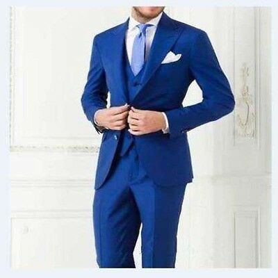 New Custom 3 Pieces Slim Fit Blue Bridegroom Groomsman Men's Wedding Prom Suit