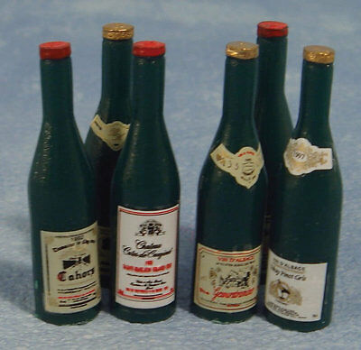 1:12 Scale Six Red Wine Bottles Dolls House Miniature Pub Bar Accessory