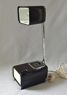 Vintage Retro Mid Century Brown Telescopic Bedside Table / Desk Reading Lamp