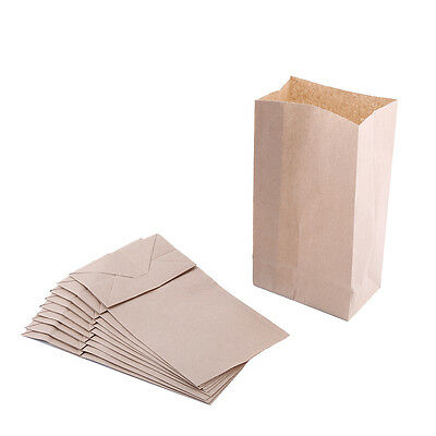 10X Pack Small Kraft Paper Gift Bag Vintage Party Home Treat Brown Paper Bags ZY