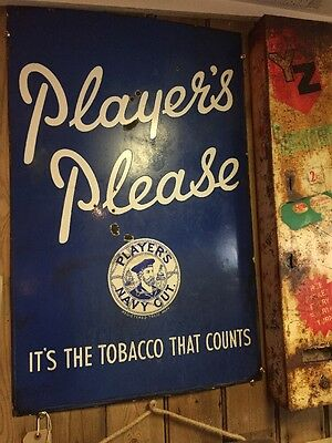 Vintage Players Please Navy Cut Enamel Sign- Old Advertising