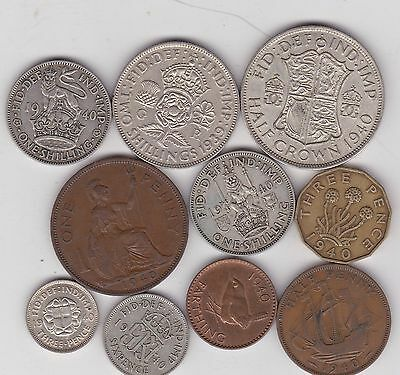 1940 George Vi Set Of 10 Coins In Good Fine Or Better Condition