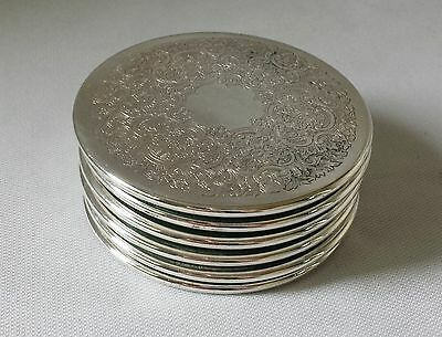 Set Of Six Vintage C1970's Strachan Silver Plate Drink Coasters