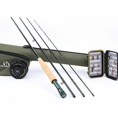 Fly Fishing Outfit 9' #5 Weight 4 Pieces Fly Rod Reel Combo with Fly Line Flies