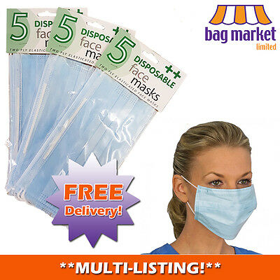 Disposable Surgical Face Masks! | 2 Ply! | Salon/Dust/Ear/Loop/Medical/Mouth/Flu