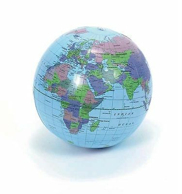 "15"" Globe Inflate Inflatable Earth World Teacher Beach Ball Toy Free Shipping"