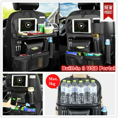 1 x Leather Car Seat Back Tidy Organiser Storage with USB Portal Foldable Table