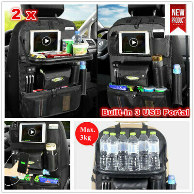 2 x Leather Car Seat Back Tidy Organiser Storage with USB Portal Foldable Table