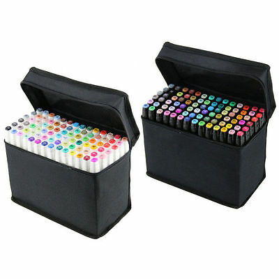 80 Colors Alcohol Graphic Art Sketch Twin Tip Marker Pen Broad Fine Point