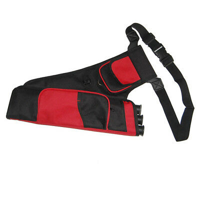 Oxford Cloth 3 Tubes Archery Quiver Back Belt Arrow Holder with Front Pocket