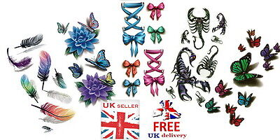 UK SELLER - 3D Waterproof Body Art Temporary Tattoo ***COLORFUL***