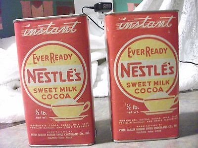 VINTAGE (2) NESTLE'S SWEET MILK COCOA INSTANT EVER READY 1/2 lb containers