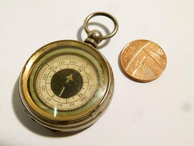 Vintage Nickel Plated Case Compass Fob with MJL Initials Inside