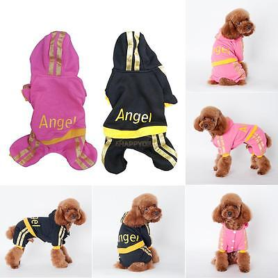 Fashion Warm Winter Angel Printed Hoodie Jumpsuit Coat Clothes For Pet Dog Puppy