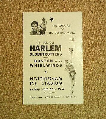 1951 Harlem Globetrotters v Boston Whirlwinds at Nottingham Basketball Programme