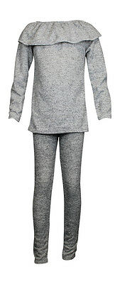 Girls Childrens Kids Frill Top with Bottoms Two piece Sets Knitted Jogging suit