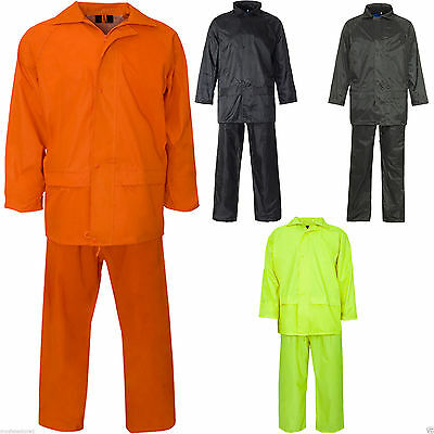 Mens Ladies Unisex Polyester / PVC Work Rainsuit Hi Viz Waterproof Rainwear Suit
