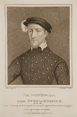Genuine 18th Century Engraving, Sir John Howard, First Duke of Norfolk, 1791
