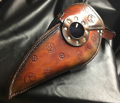 Custom made leather steampunk plague doctor's mask- gears stitched