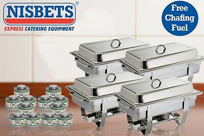 Olympia 4X Milan Chafing Stainless Steel Dish Food Warmer Liquid Fuel 12X Pack