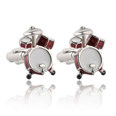 1 pair Men Cuff Links Red White Musical Band Drum Cufflink French Shirt Party We